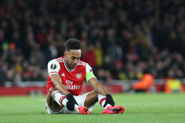 Pierre-Emerick Aubameyang was inconsolable at the final whistle after Arsenal's defeat against Olympiacos