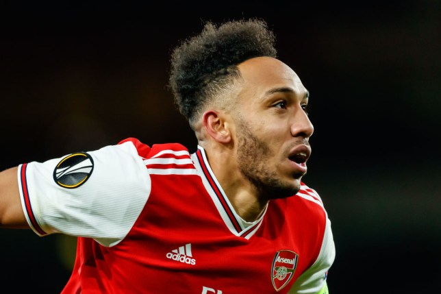 Pierre-Emerick Aubameyang of Arsenal FC looks on during the UEFA Europa League round of 32 second leg match between Arsenal FC and Olympiacos FC at Emirates Stadium on February 27, 2020 in London, United Kingdom.