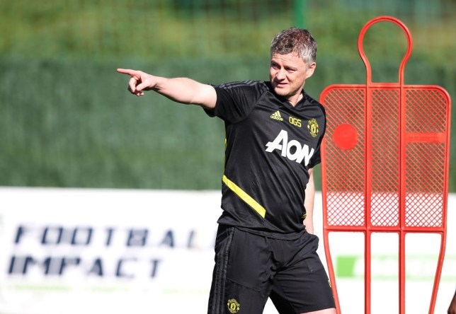 Ole Gunnar Solskjaer points during a Manchester United training session