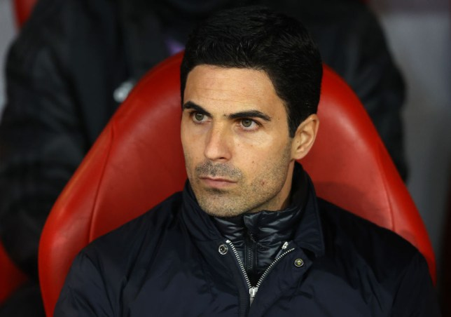 Arsenal manager Mikel Arteta watches his team from the dugout