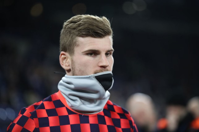 Timo Werner warms up before a game for RB Leipzig