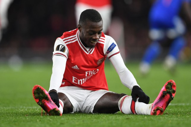 Nicolas Pepe endured a frustrating evening against Olympiacos