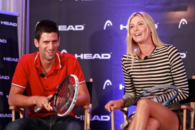 NEW YORK, NY - AUGUST 24: Tennis pros Novak Djokovica and Maria Sharapova unveil the latest collection from HEAD at the The Benjamin Hotel on August 24, 2011 in New York City.