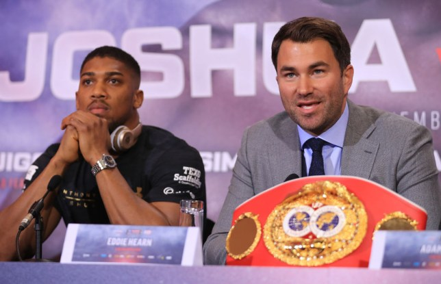 Eddie Hearn, boxing promoter (R) and Anthony Joshua (L) speak during a press conference for his Super Heavyweight title fight against Wladamir Klitschko at Sky Sports Studios on April 27, 2017 in London, England. Anthony Joshua and Wladamir Klitschko are due to fight for the IBF, IBO and WBA Super Heavyweight Championships of the World at Wembley Stadium on April 29.