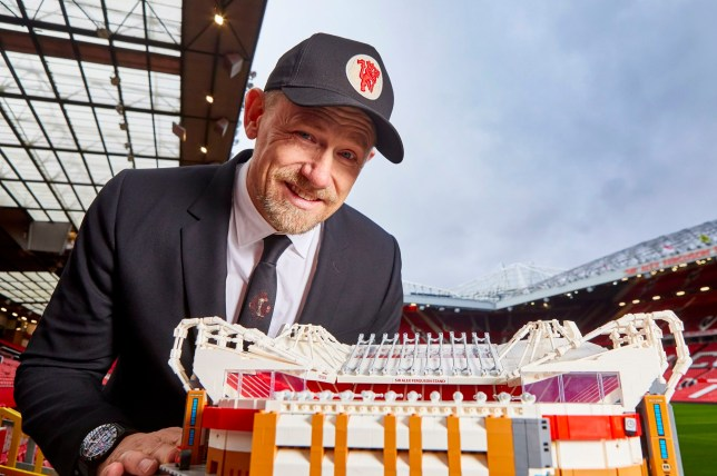 Peter Schmeichel with Lego Old Trafford