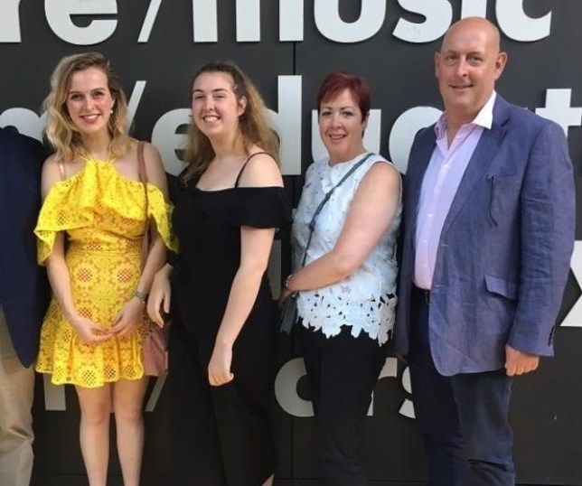 Nicola and her step-daughters and husband