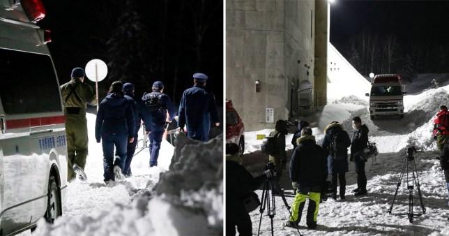 n ambulance waits as journalists gather at the Tomamu ski resort in Shimukappu village, Hokkaido, Japan