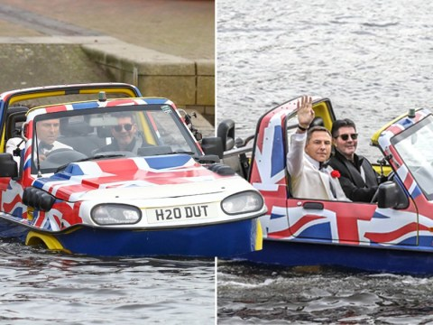 Britain's Got Talent's Simon Cowell and David Walliams go 007 and travel by Union Jack car-boat to Manchester auditions