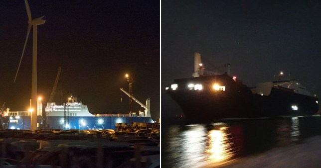 Caption: Saudi ship carrying weapons docks secretly in UK under cover of darkness