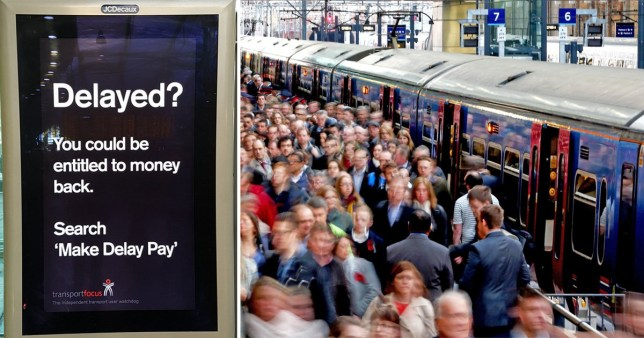 Poster for Watchdog Transport Focus' Make Pay Delay and images of commuters crowding outside train