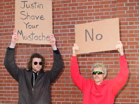 Justin Bieber's moustache isn't going anywhere anytime soon despite fan's protest sign