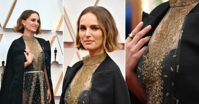 Natalie Portman Oscars 2020 red carpet names cape