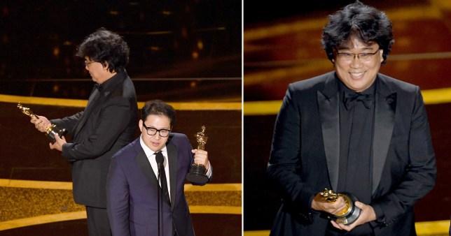 Bong Joon Ho Oscars 2020 giggling on stage