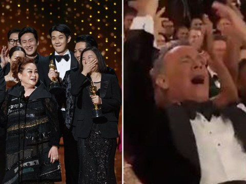 Oscars 2020: Tom Hanks leads chant to bring lights back up on Parasite team as their speech is cut short and we couldn't love him more
