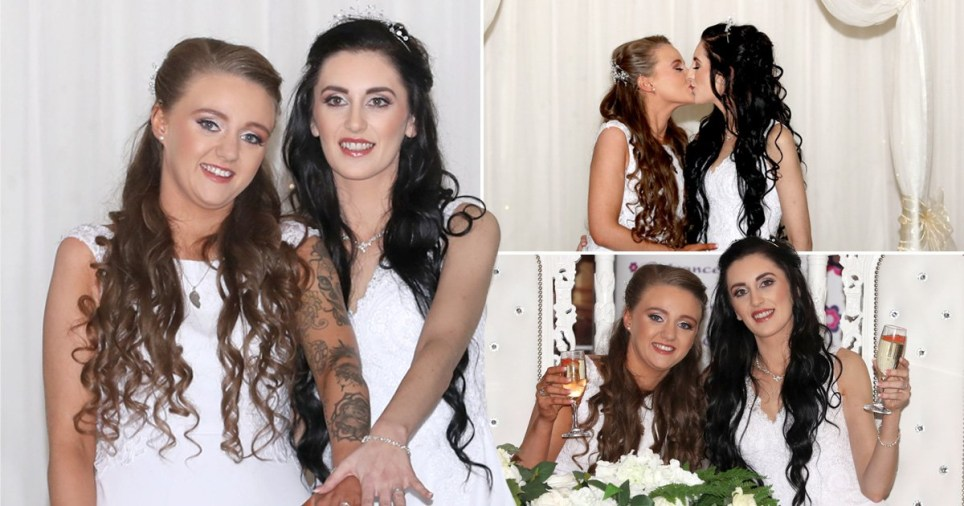 Robyn Peoples and Sharni Edwards (married name Edwards-Peoples) tying the knot in Northern Ireland's first same-sex marriage on February 11 2020 in Belfast, Co Antrim