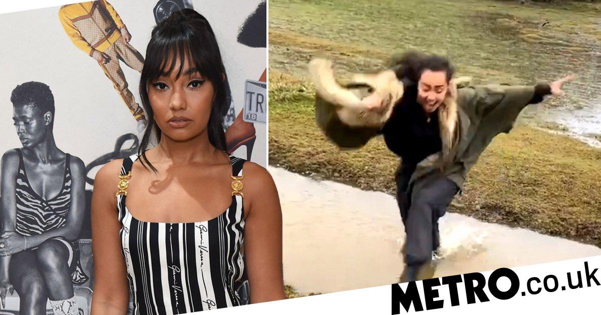Little Mix's Leigh-Anne Pinnock trying to get over a muddy ditch is all of us