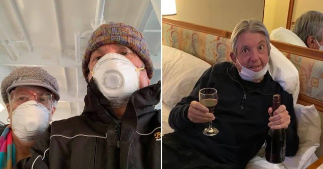 Jan and Dave Binskin ordered wine via drone to their cabin on the Diamond Princess cruise in Japan