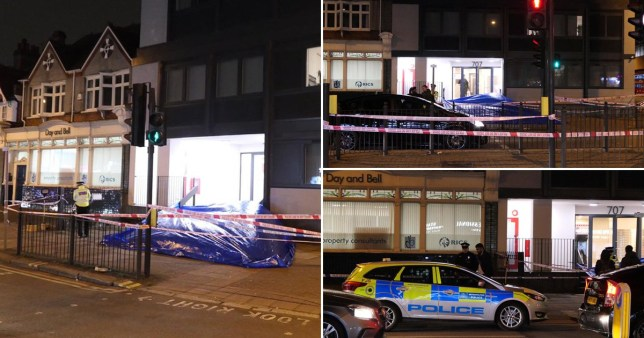 Crime scene in High Road, North Finchley on February 12 after a man fell to his death at 3.20pm