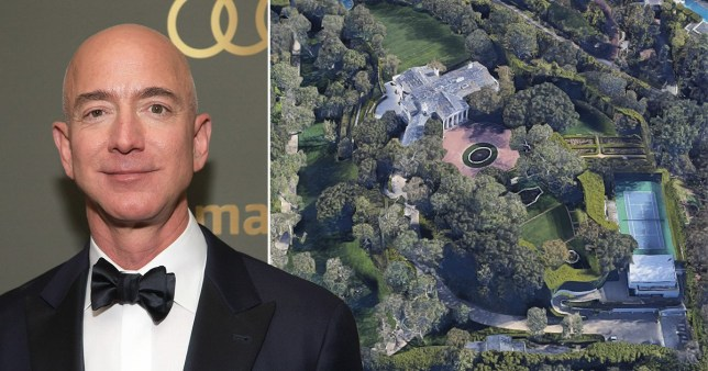 Jeff Bezos set a record with a $165m purchase of a Beverly Hills mansion (Getty/Google Maps)