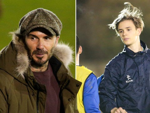 David Beckham is son Romeo's biggest fan and cheers him on from the sidelines at teen's football game