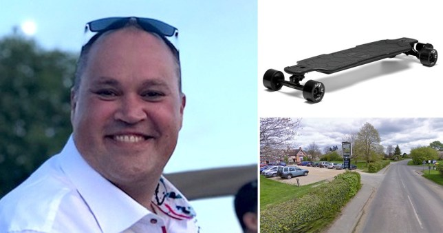 Bradley Visser, 38, from Stoke Row, near Henley-on-Thames, Oxfordshire, picture of the Cherry Tree pub where he suffered a fatal crash and picture of an Evolve GTR carbon electric skateboard