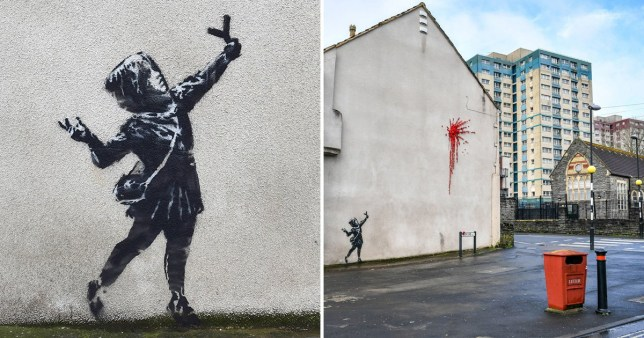 A young girl fires a slingshot of flowers at a Bristol building in Banksy's latest work