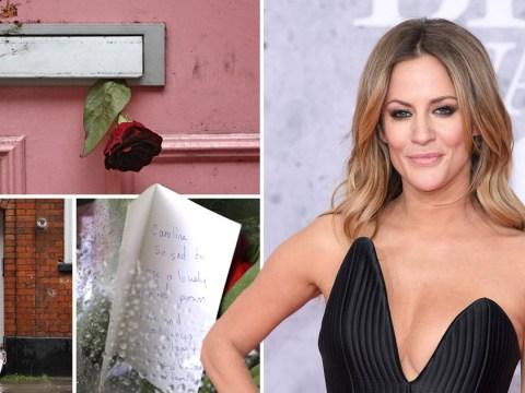 Caroline Flack's fans leave floral tributes outside her London home after death aged 40