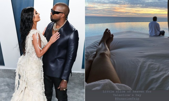 Caption: Kim Kardashian whisked away on surprise holiday by Kanye West for V Day