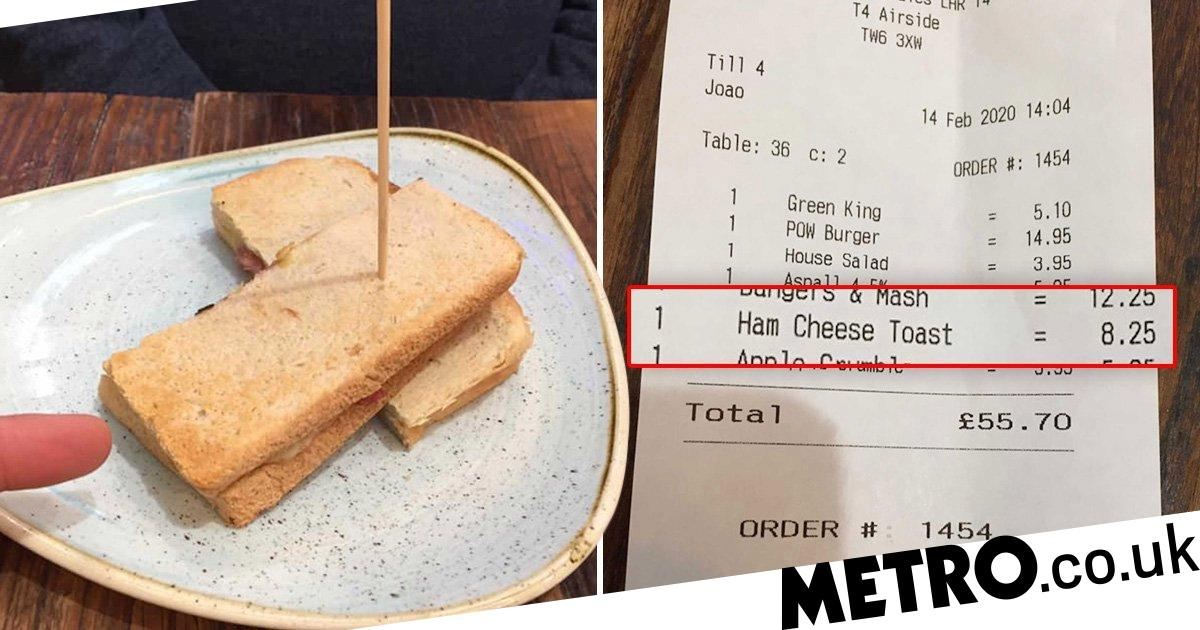 'Pathetic' ham and cheese toastie cost £8.50 at Heathrow