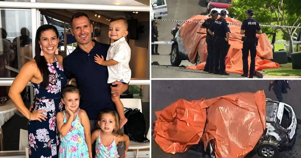 Rowan Baxter with his three children Aaliyah, six, Laianah, four, and Trey, three (Picture: Facebook; AAP; 7 News)