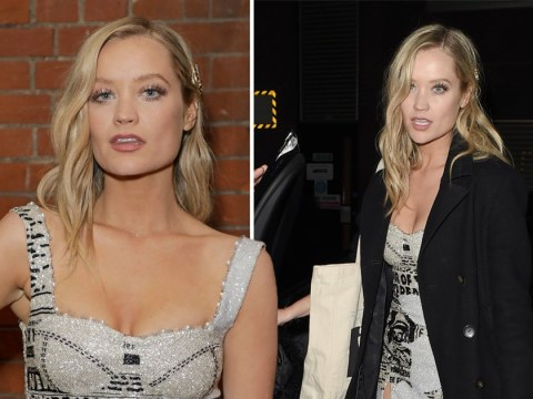 Laura Whitmore puts on brave face at Brits after-party following Caroline Flack's death