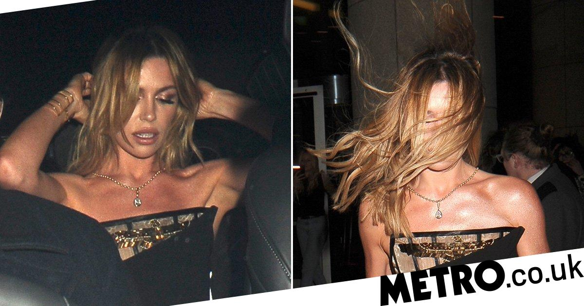 Abbey Clancy struggles to maintain hair as she leave Brits 2020 after-party