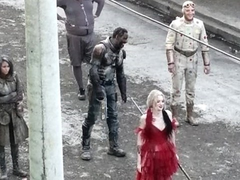 Idris Elba is seen in full costume for first time as he joins Margot Robbie for Suicide Squad 2 filming in Panama