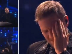 Slovenian Eurovision hopeful left 'bloodied' after lamp falls on him mid-performance