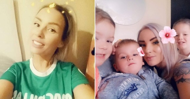 Kim with her four children and wearing and Macmillan cancer top