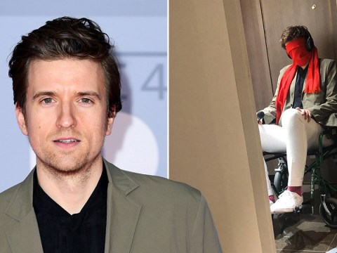 Greg James wrapped in scarf and put in wheelchair during 'kidnapping' looks like the hangover from hell