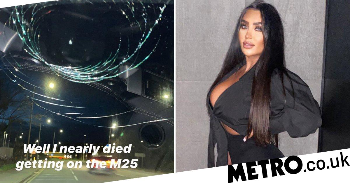 Towie's Lauren Goodger claims she 'nearly died' on M25 as windscreen shatters
