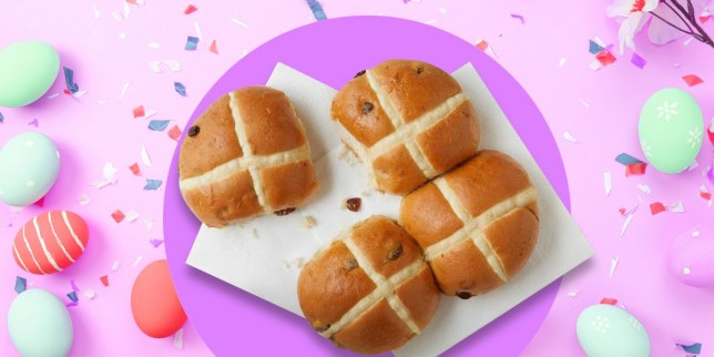Greggs vegan hot cross buns on a pink background with Easter eggs