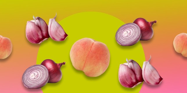 Peaches, onions and garlic on a colourful background
