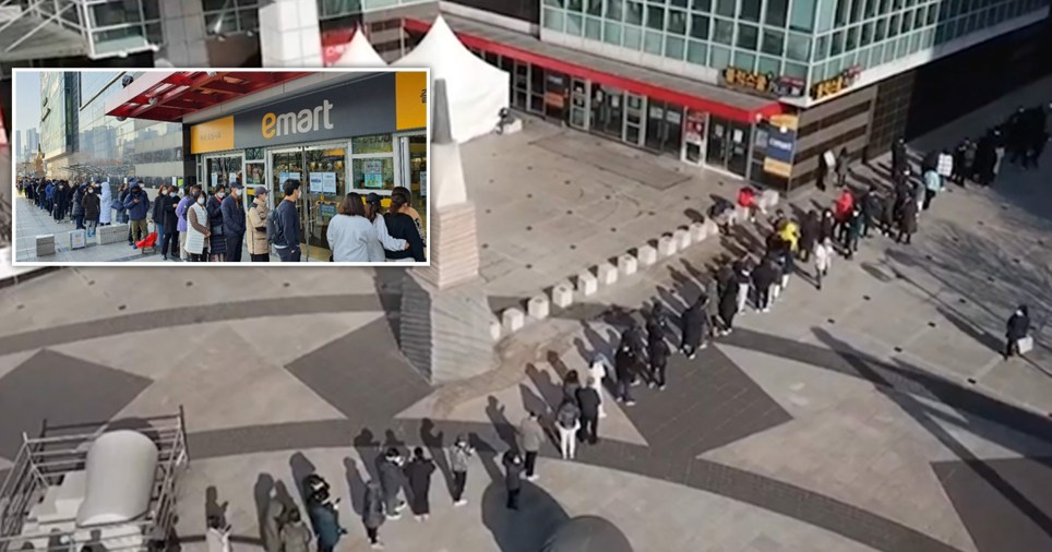 People were filmed stretching around the block to buy face masks