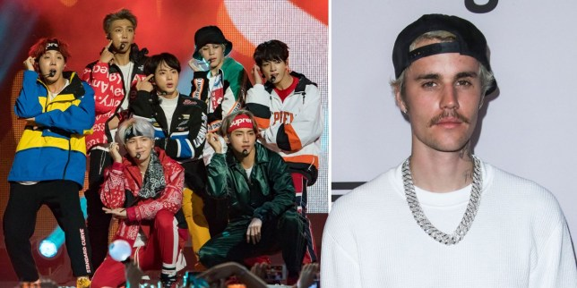 BTS K-Pop band and Justin Bieber