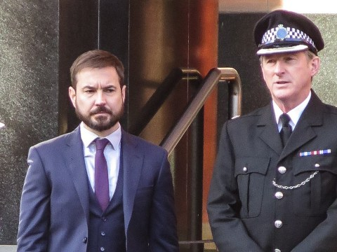 Line of Duty's Adrian Dunbar and Martin Compston look intense as H mystery continues in behind-the-scenes pics