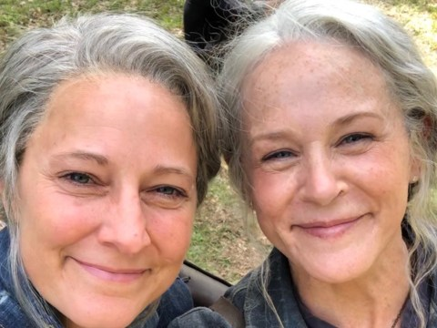 The Walking Dead's Melissa McBride shares BTS season 10 photo with stunt double and it's all kinds of cute