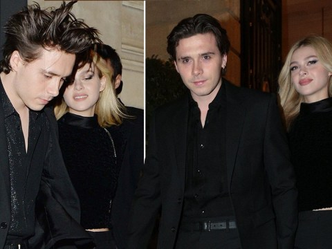 Brooklyn Beckham is ever the gent as he escorts girlfriend Nicola Peltz out of PFW after-party