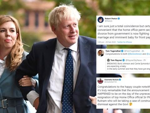 Boris Johnson and new fiancée congratulated on 'wonderful' baby news