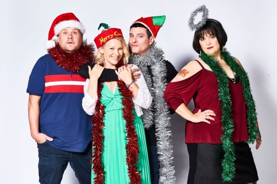 Embargoed to 2130 Wednesday December 25 For use in UK, Ireland or Benelux countries only Undated BBC handout photo of (left to to right ) Hames Corden as Neil 'Smithy' Smith, Joanna Page as Stacey Shipman, Mathew Horne as Gavin Shipman and Ruth Jones as Nessa Jenkins who starred in the Gavin & Stacey's Christmas special which ended on a cliffhanger after the episode finished with a marriage proposal between two major characters left unanswered. PA Photo. Issue date: Wednesday December 25, 2019. See PA story SHOWBIZ GavinStacey. Photo credit should read: Tom Jackson/BBC/PA Wire NOTE TO EDITORS: Not for use more than 21 days after issue. You may use this picture without charge only for the purpose of publicising or reporting on current BBC programming, personnel or other BBC output or activity within 21 days of issue. Any use after that time MUST be cleared through BBC Picture Publicity. Please credit the image to the BBC and any named photographer or independent programme maker, as described in the caption.