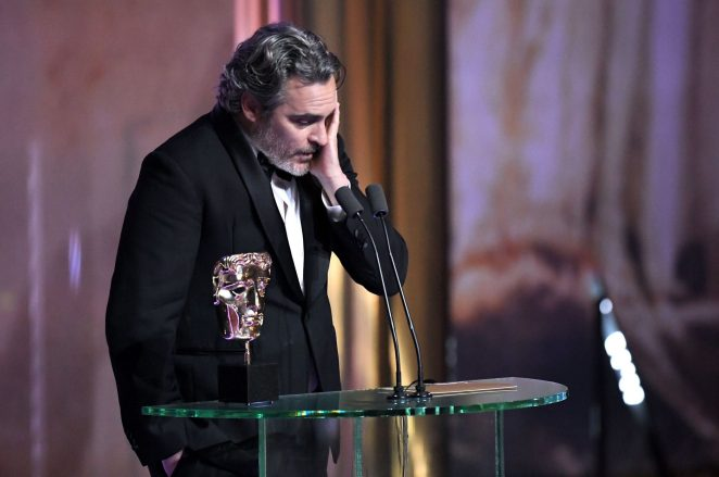 Image result for Joaquin Phoenix Uses His Joker BAFTA Win to Call Out Industry for Systemic Racism