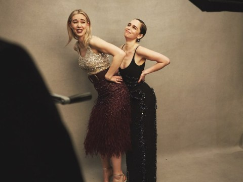 Emilia Clarke and Vanessa Kirby struggle to be serious during backstage Baftas photo shoot