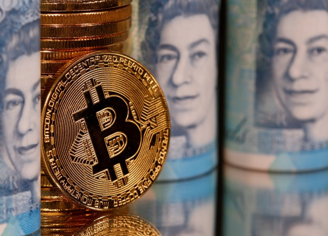 Representations of Bitcoin and pound banknotes are seen in this illustration taken January 6, 2020. REUTERS/Dado Ruvic/Illustration