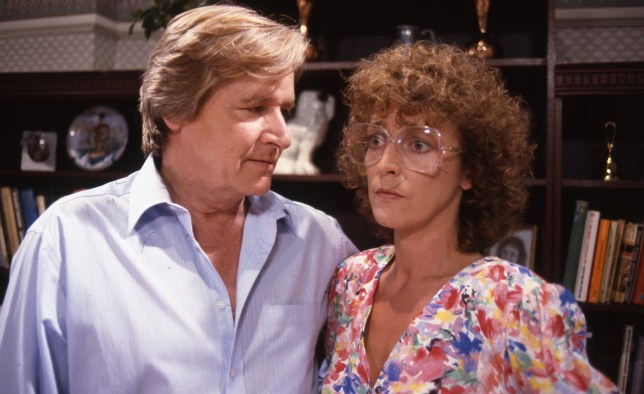 William Roache (as Ken Barlow) and Anne Kirkbride (as Dierdre Barlow) on coronation street